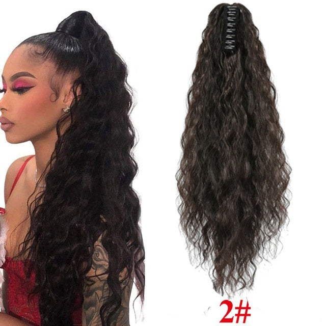 Long Afro Kinky Curly Claw Clip Ponytail For  Women  Fake Corn Wavy Drawstring Pony Tail Synthetic High Temperature Fiber Hair Extension