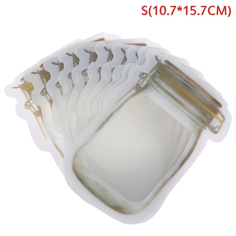 10Pcs Jar Zipper Bags Food Storage Snack Sandwich Ziplock Bag Reusable Leakproof