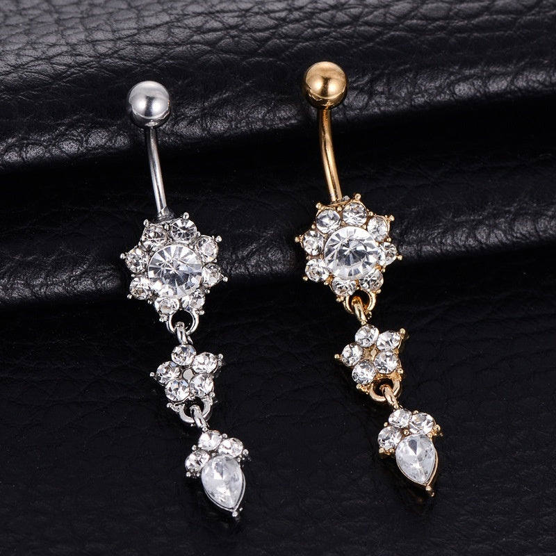 2019 new European and American navel piercing navel decoration jewelry drop flower pendant set diamond navel nail navel ring