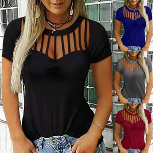 Women's Fashion Short Sleeve Ladder Cut Out Casual Top Blouse Plus Size