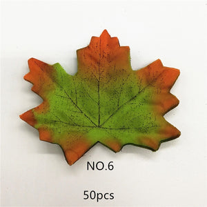 50 Pcs/lot Artificial Maple Leaves Simulation Decorative Silk Maple Leaves Fake Fall Leaves For Home Wedding Party Decoration.