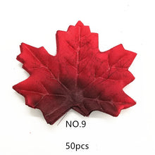 Load image into Gallery viewer, 50 Pcs/lot Artificial Maple Leaves Simulation Decorative Silk Maple Leaves Fake Fall Leaves For Home Wedding Party Decoration.