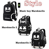 Hot Marshmello DJ Boy Girl Luminous Backpack Anti-theft USB Charging Travel Backpack Students School Bag Back to College