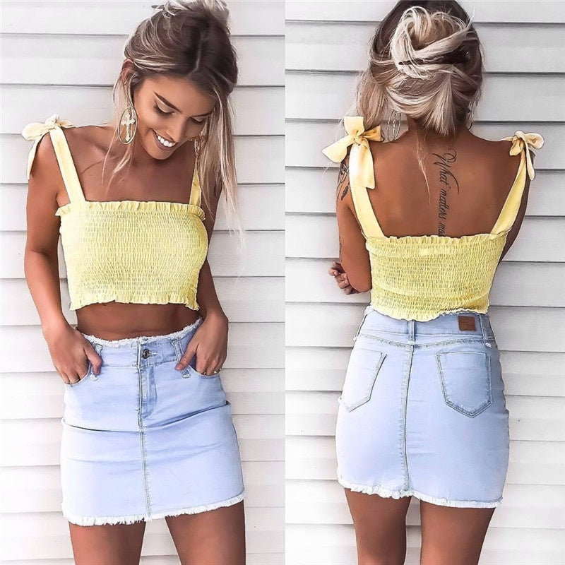 Woman Fashion Sexy Bow Top Strap Sling Vest Top