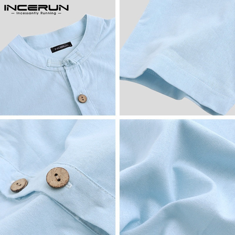INCERUN Mens Summer Chinese Style Shirts Short Sleeve Mandarin Collar Cotton Linen Tops Henley