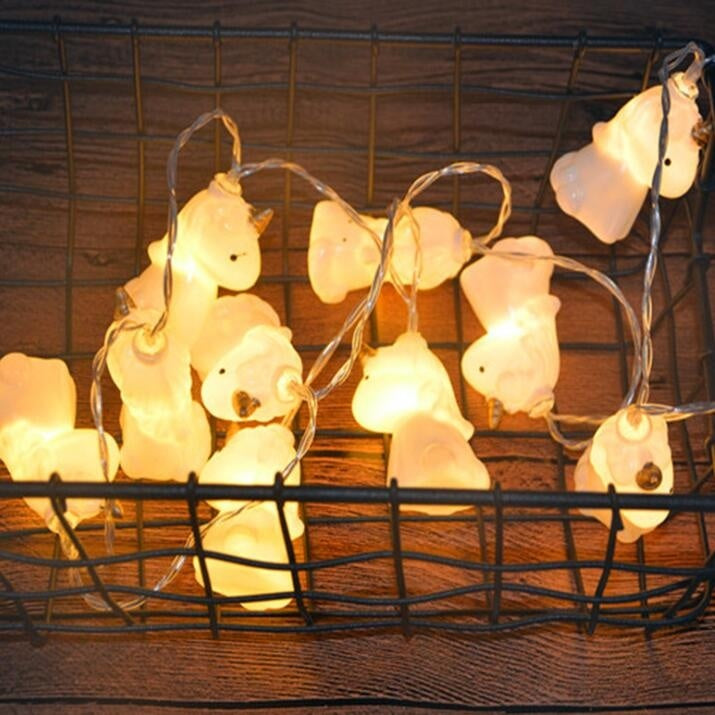1.5M Battery Powered - Indoor/Outdoor Halloween Christmas Thanksgiving Home Party Children Kids Bedroom Decoration 10Pcs/Set Super Cute Unicorn LED String Lights