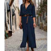 Load image into Gallery viewer, 2019 Fashion Autumn and Winter New Long-sleeved Split Skirt Women Long Casual  Daily Button Shirt Dress Plus Size Tops 6 Colors