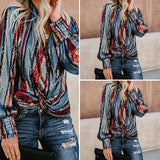 Women Casual V-Neck Long Sleeve Blouse Shirts Printed Tops Autumn Tunic Top S-5XL