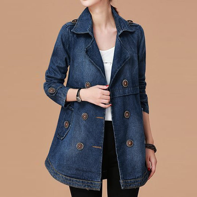 2019  Fashion Autumn and Winter Women's Demin Trench Coat Outwear Jacket
