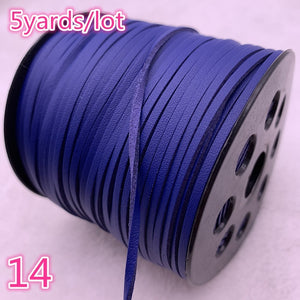 New 5yards/lot 3mm Flat Faux Suede Braided Cord Korean Velvet Leather Handmade Beading Bracelet Jewelry Making String Rope