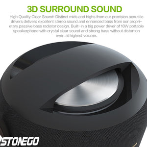 10W Bluetooth Speakers, Portable Wireless Speaker Support True Wireless Stereo (TWS) IPX56 Waterproof Speaker with Dual Drivers Bass Passive Diaphragm Stereo Loud Sound Box Built-in Mic/TF Card/USB/AUX Audio Input STONEGO Audio Accessories for Home Bedroo
