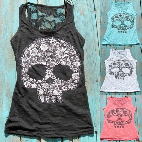 Women Fashion Sleeveless O-neck Blouse Tops Printed Skull T-shirts Casual Sport Yoga Gym Skinny Slim Fit Lace Blouses Lace Tank Top Vests Plus Size
