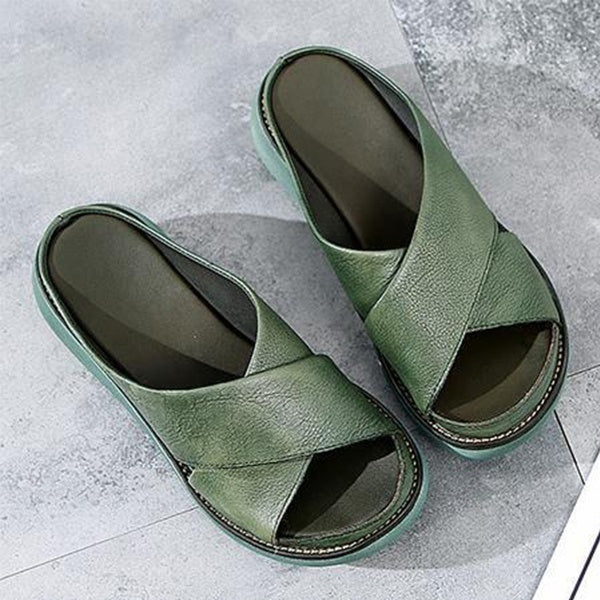 Retro Women Fashion Bottom Thick Sandals Retro Leather Slipper Spring Summer Autumn Fish Mouth Flat Shoes Plus Size