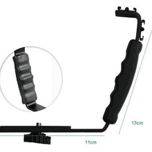 Load image into Gallery viewer, L-shaped flash bracket Holder video handle handheld stabilizer grip for DSLR SLR camera phone DV camcorder  LF01-054