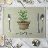 Small Fresh Plants Succulent Cactus Table Mat Cup Cushion