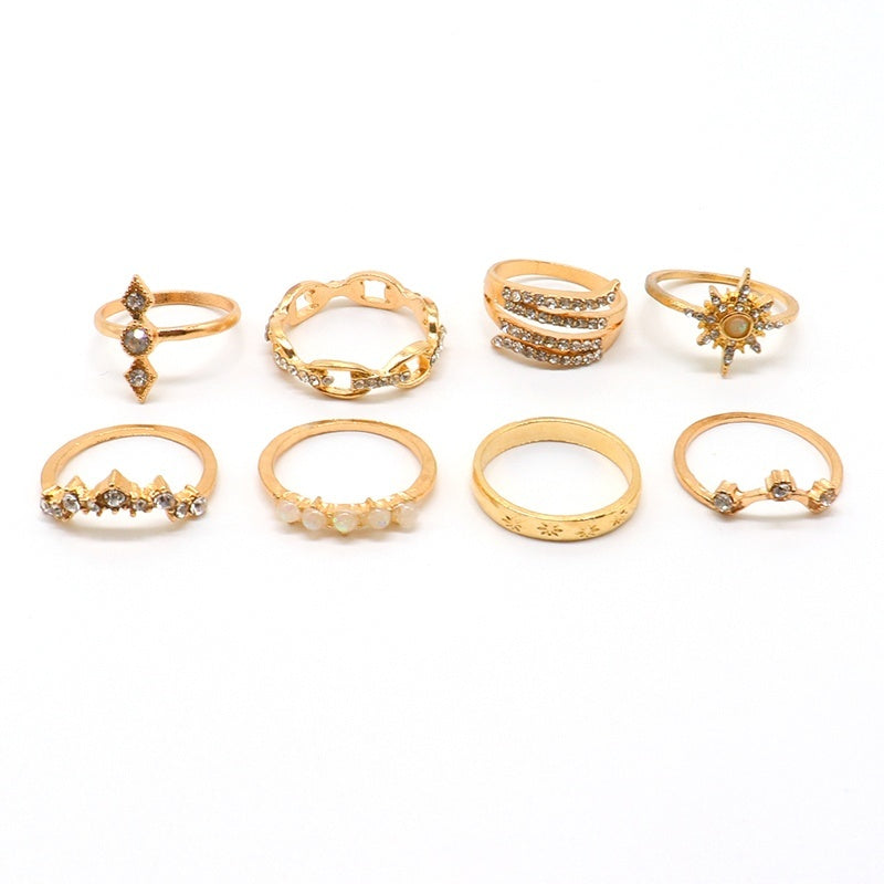 17 Pcs/ Set Fashion Inlay Diamond Crystal Gold Irregular Joint Ring Personality Crown Star Water Drop Wave Round Geometric Women Ring Set Combination