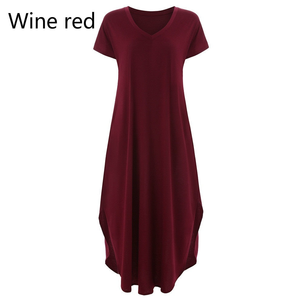 Women's Plus Size  Dresses  Ladies Summer Dresses Soild Color Dresses Short Sleeve Dresses Loose Dresses Casual Dresses V Neck Split Pocket Long Dress Full Length Dress
