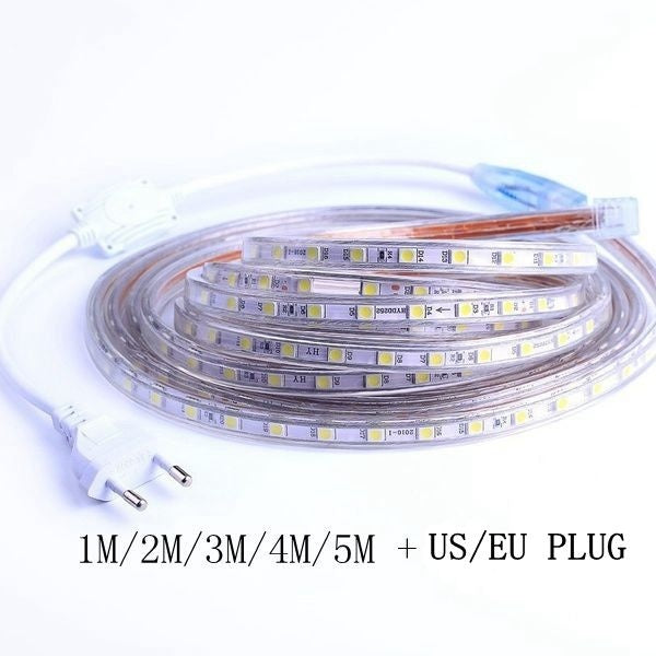 SMD 5050 AC 220V Led Strip Flexible Light 1m/2m/3m/4m/5m +US/EU Power Plug,60leds/m Waterproof Led Light