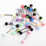 20pcs Colorful Stainless Steel Ball Barbell Tongue Rings Bars Piercing H8821 Cosmetic
