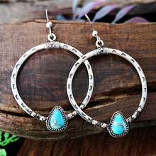 Load image into Gallery viewer, Vintage 925 Sterling Silver Exaggerated Big Circle Earrings Turquoise Decorative Personality Earrings Female Jewelry