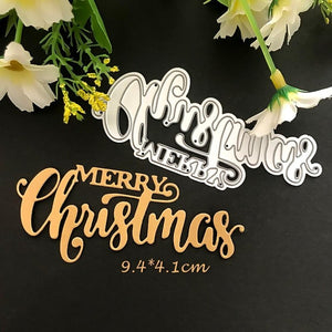 MERRY Christmas Dies Cut Word Metal Cutting Dies Christmas Stamps Dies  Craft Dies Scrapbooking