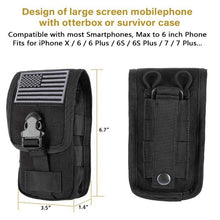 Load image into Gallery viewer, Tactical Cell Phone Holster Pouch EDC Cellphone Case Molle Gadget Bag Molle Attachment Belt Holder Waist Bag with US Flag Patch