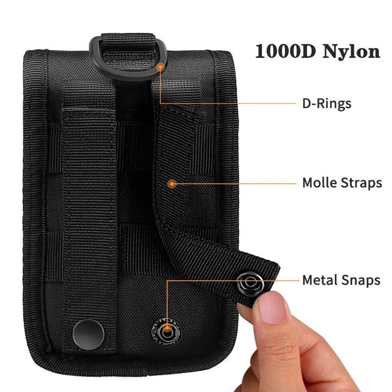 Tactical Cell Phone Holster Pouch EDC Cellphone Case Molle Gadget Bag Molle Attachment Belt Holder Waist Bag with US Flag Patch