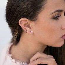Load image into Gallery viewer, 1 Pair Double Cubic Zirconia Ear Jacket Earrings Women's Fashion Simple Earrings