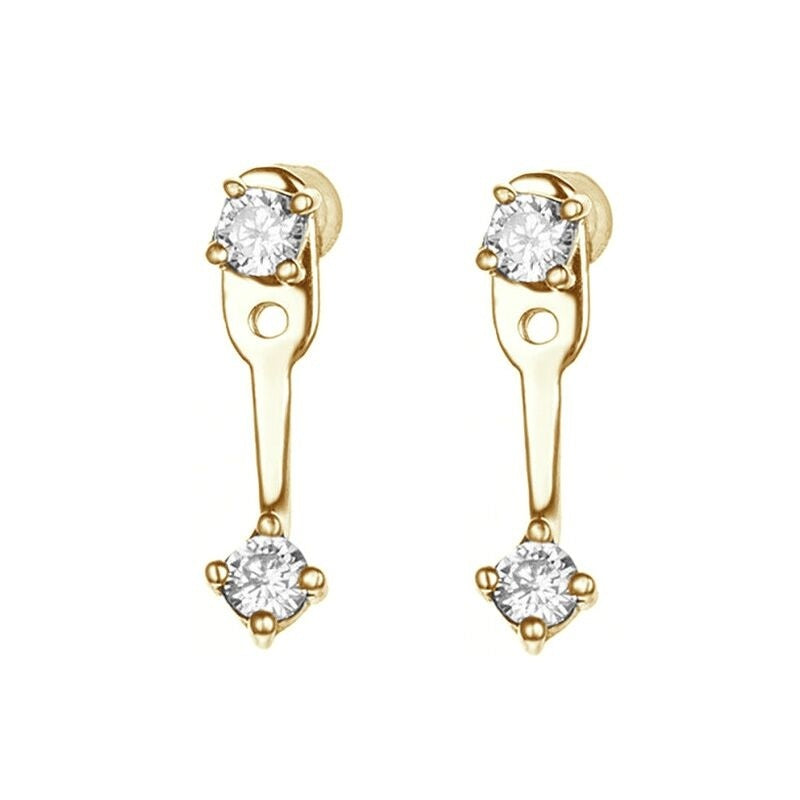 1 Pair Double Cubic Zirconia Ear Jacket Earrings Women's Fashion Simple Earrings