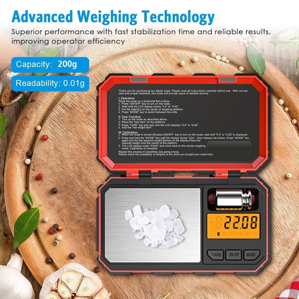 Digital Mini Scale 200g /0.01g Pocket Scale 50g Calibration Weight LCD Backlit Display Electronic Smart Scale