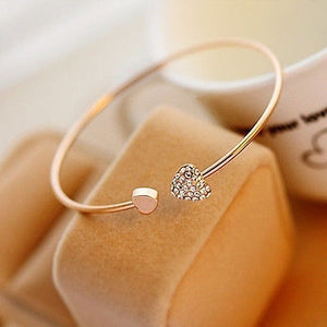 Women Girl Simple Style Gold Tone Rhinestone Love Heart Bangle Cuff Bracelet