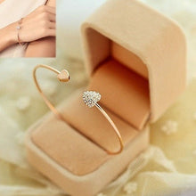 Load image into Gallery viewer, Women Girl Simple Style Gold Tone Rhinestone Love Heart Bangle Cuff Bracelet