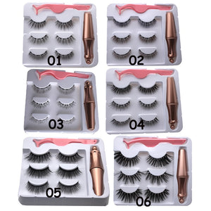 SKONHED 1 Set Hot Sale Natural Long 5 Magnets Lash Long-lasting Waterproof Eye Lash Extension 3 Pairs Magnetic Eyelashes  With 1 PcTweezer Magnetic Eyeliner