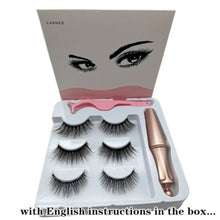 Load image into Gallery viewer, SKONHED 1 Set Hot Sale Natural Long 5 Magnets Lash Long-lasting Waterproof Eye Lash Extension 3 Pairs Magnetic Eyelashes  With 1 PcTweezer Magnetic Eyeliner