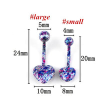 Load image into Gallery viewer, 5 Pcs/lot Heart Shape Multicolor Coating Stainless Steel Barbell Coating Belly Button Rings Navel Piercing Helix Body Piercing Jewelry Random Color