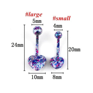 5 Pcs/lot Heart Shape Multicolor Coating Stainless Steel Barbell Coating Belly Button Rings Navel Piercing Helix Body Piercing Jewelry Random Color