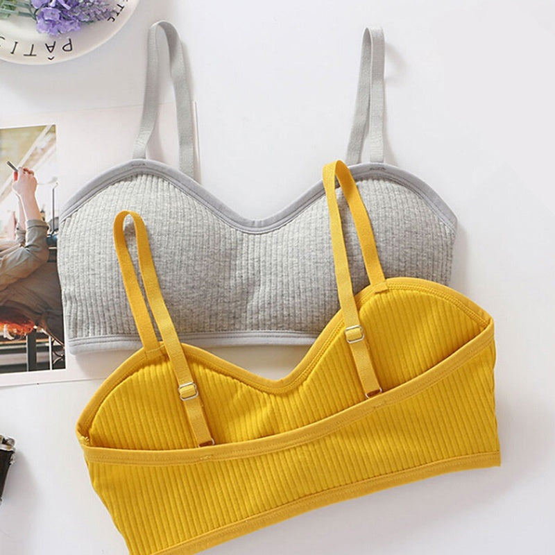 Sexy Women Padded Bralette Bra Crop Top Bra Bustier Push Up Cami Solid Color