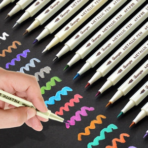 15Pcs Color Metallic Fine Pen Pencil Marker DIY Album Dauber Pen Set Waterproof For Stationery School Supplies