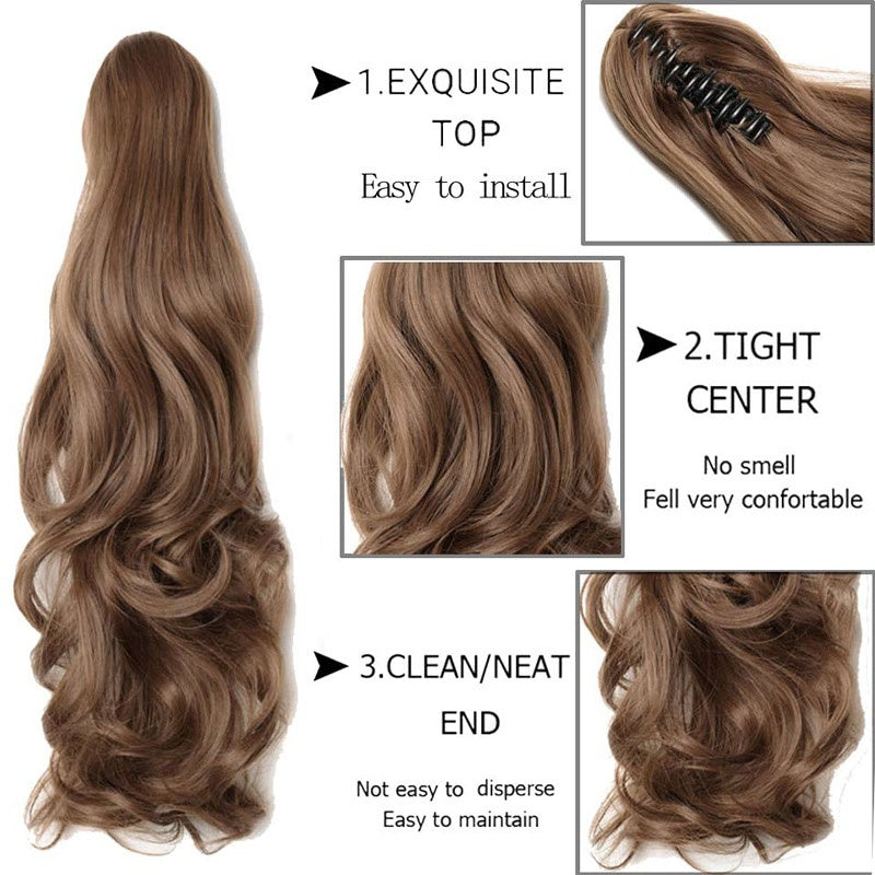 Fashion Girl's Long Straight Claw on Ponytail Clip in  Synthetic Hair Extensions Curly Style Pony Tail Hairpiece Black Brown Blonde Hairstyles