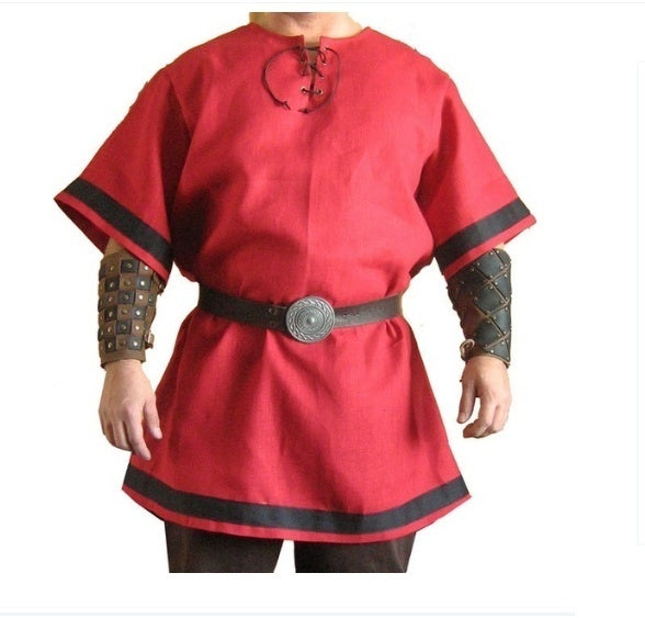 New Medieval Viking Red Color Renaissance Tunic Costume viking costume Plus Size XS-5XL