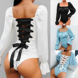 Vintage Square Neck Puff Sleeve Bandage Hollow Out Onesies Lacework Backless Slim Jumpsuit/Rompers