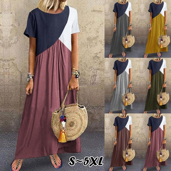 NEW Womens Short Sleeves Round Neck Color Block Plus Size Summer Swing Long Dresses