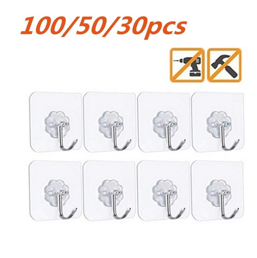 100/50/30 pcs Magic Hook No Trace Without Nails Transparent Strong Sticky Heavy Magic Wall Hook Holders & Racks Home Decor