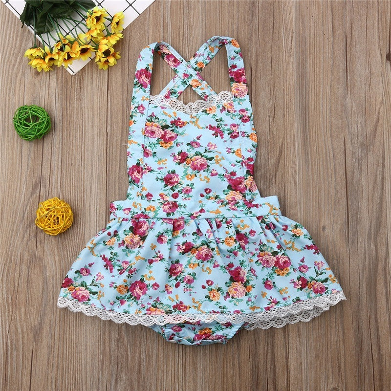 Summer Baby Clothing Newborn Baby Girls Clothes Backless Ruffle Floral Rompers Kids Jumpsuit Tutu Dress Tracksuit