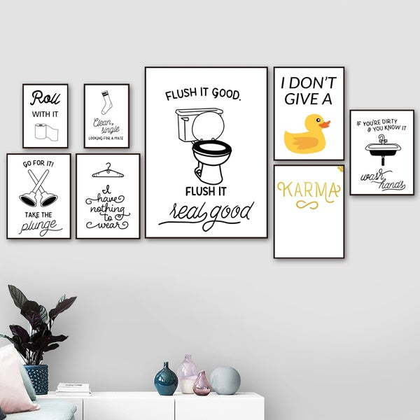 Toilet Paper Toilet Sink Socks Duck Quotes Wall Art Canvas Painting Nordic Posters And Prints Wall Pictures For Bathroom Decor