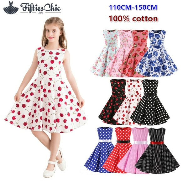 Children's dress girls' skirt dot pattern retro children's dress