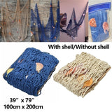 39''x79'' Mediterranean Decorative Nautical Fishing Net Beach Party Decor Nets Hangings With Shell or Without Shell