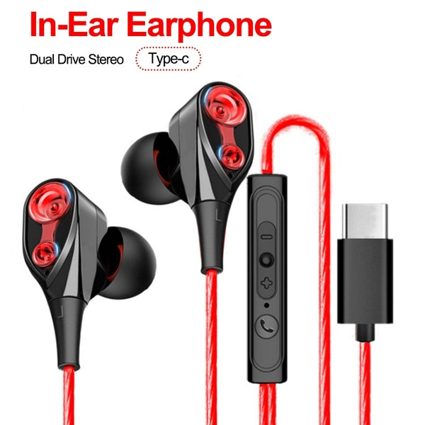 Type C Earphone Metal Super Bass Earbuds Headset With Microphone for Xiaomi Huawei Samsung Mobile Phones