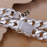 JOYMODE 925 Sterling Silver Bracelets Fashion Jewelry Gifts Mens 10MM Square Buckle Sideways Bracelets (Color: Silver)