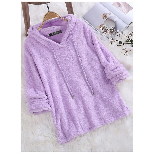 Limited fashion women's fleece hooded solid color autumn and winter long-sleeved sweatshirt